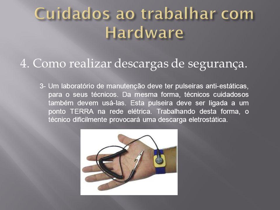4. Como realizar descargas de segurança. 3- Um laboratório de manutenção deve ter pulseiras anti-estáticas, para o seus técnicos. Da mesma forma, técn