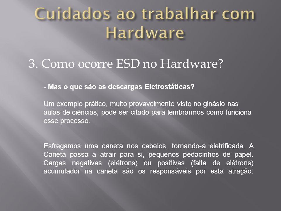 3. Como ocorre ESD no Hardware? - Mas o que são as descargas Eletrostáticas? Um exemplo prático, muito provavelmente visto no ginásio nas aulas de ciê