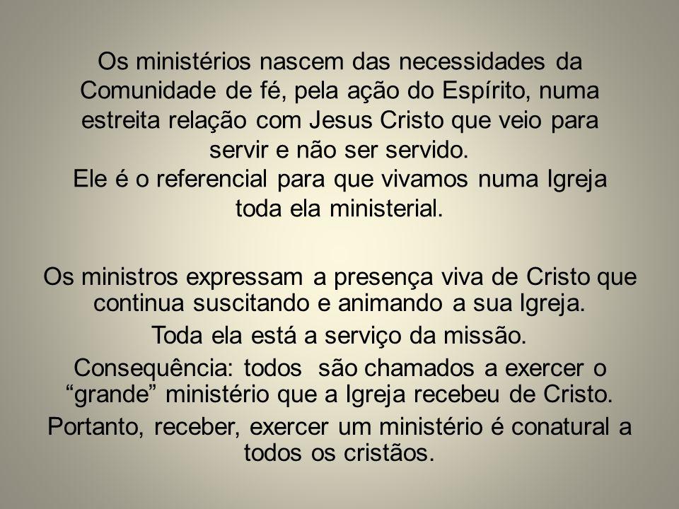 Os ministérios nascem das necessidades da Comunidade de fé, pela ação do Espírito, numa estreita relação com Jesus Cristo que veio para servir e não s