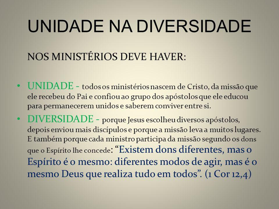 UNIDADE NA DIVERSIDADE NOS MINISTÉRIOS DEVE HAVER: UNIDADE - todos os ministérios nascem de Cristo, da missão que ele recebeu do Pai e confiou ao grup