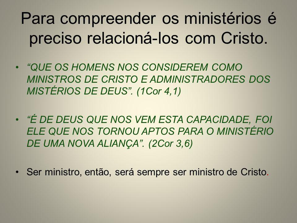 Para compreender os ministérios é preciso relacioná-los com Cristo. QUE OS HOMENS NOS CONSIDEREM COMO MINISTROS DE CRISTO E ADMINISTRADORES DOS MISTÉR