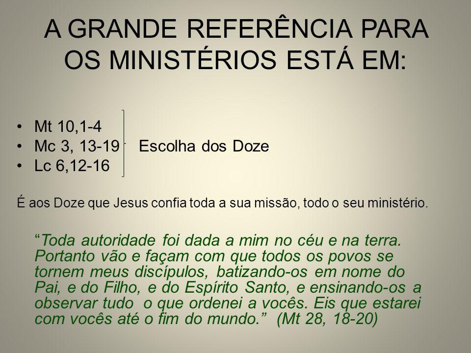 A GRANDE REFERÊNCIA PARA OS MINISTÉRIOS ESTÁ EM: Mt 10,1-4 Mc 3, 13-19 Escolha dos Doze Lc 6,12-16 É aos Doze que Jesus confia toda a sua missão, todo