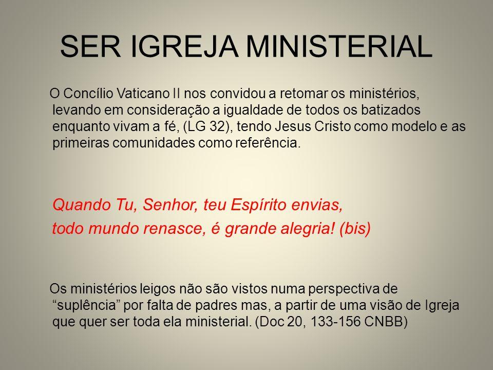 SER IGREJA MINISTERIAL O Concílio Vaticano II nos convidou a retomar os ministérios, levando em consideração a igualdade de todos os batizados enquant