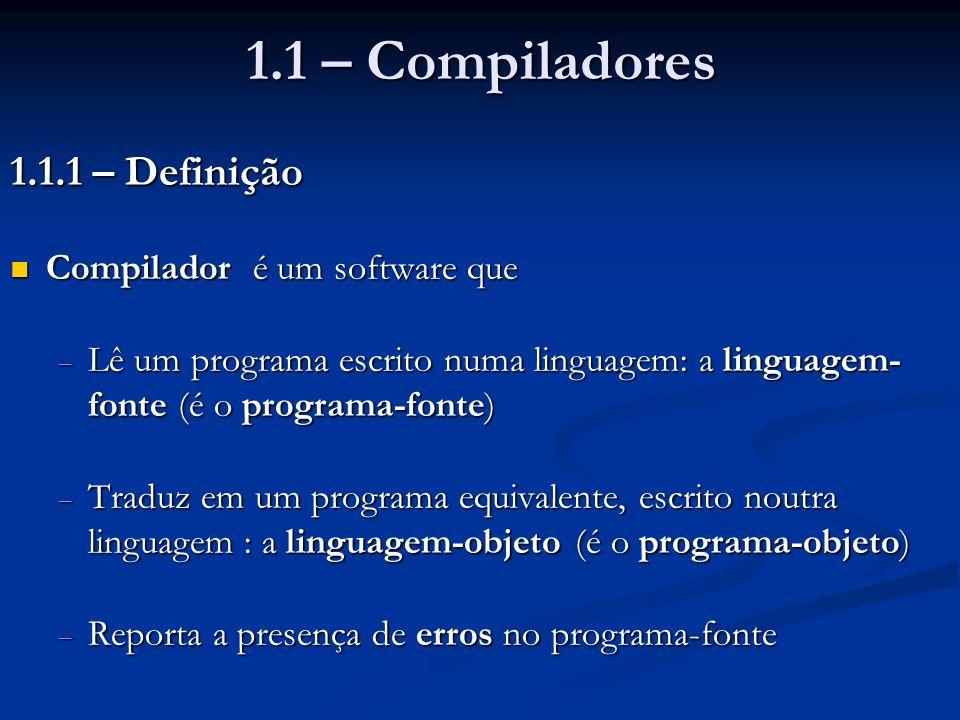 1.1 – Compiladores 1.1.1 – Definição Compilador é um software que Compilador é um software que Lê um programa escrito numa linguagem: a linguagem- fon