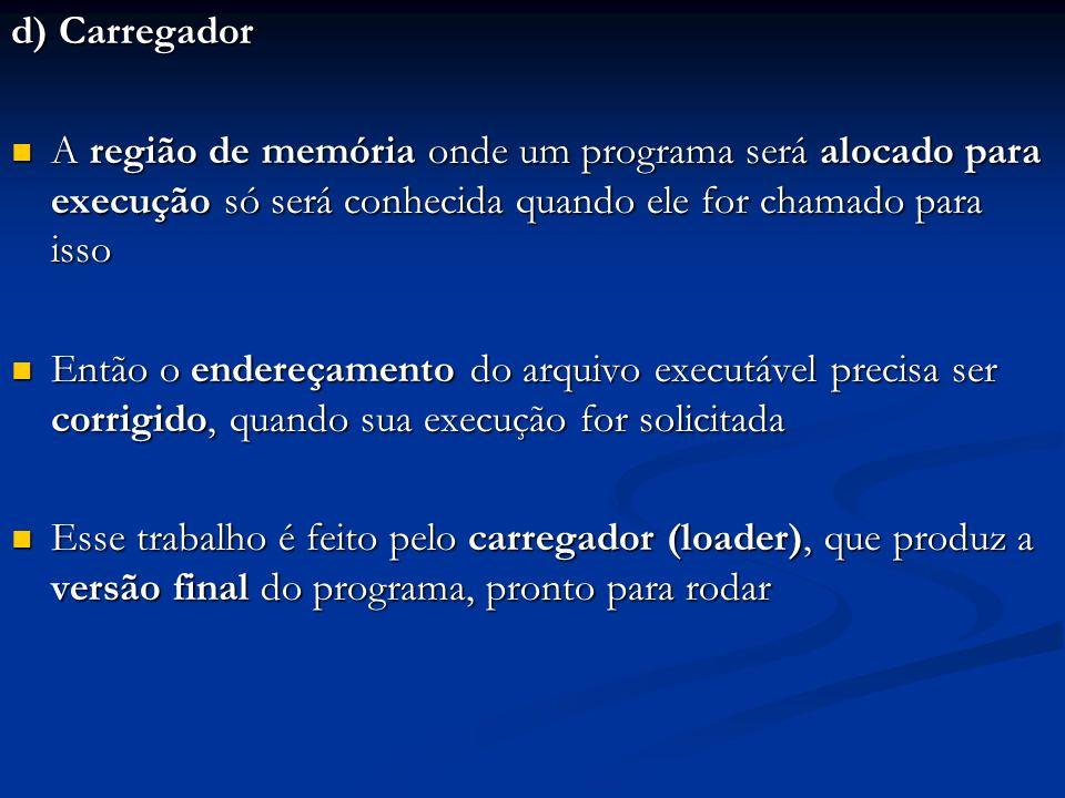 d) Carregador A região de memória onde um programa será alocado para execução só será conhecida quando ele for chamado para isso A região de memória o