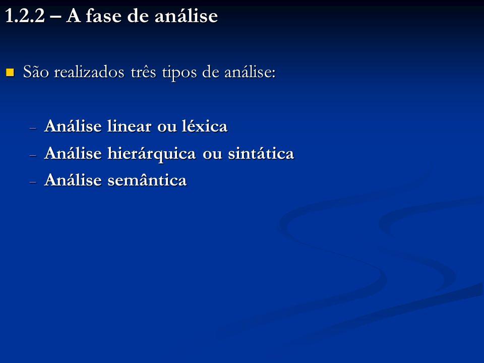 1.2.2 – A fase de análise São realizados três tipos de análise: São realizados três tipos de análise: Análise linear ou léxica Análise linear ou léxic