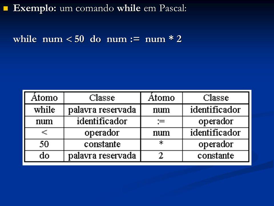 Exemplo: um comando while em Pascal: Exemplo: um comando while em Pascal: while num 50 do num := num * 2