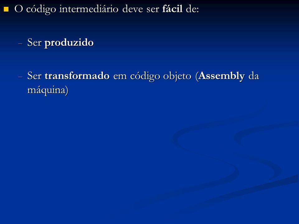 O código intermediário deve ser fácil de: O código intermediário deve ser fácil de: Ser produzido Ser produzido Ser transformado em código objeto (Ass