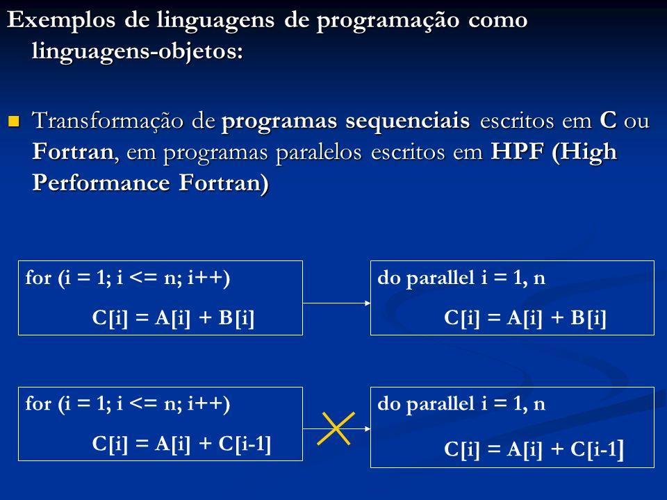 Exemplos de linguagens de programação como linguagens-objetos: Transformação de programas sequenciais escritos em C ou Fortran, em programas paralelos