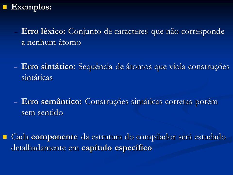 Exemplos: Exemplos: Erro léxico: Conjunto de caracteres que não corresponde a nenhum átomo Erro léxico: Conjunto de caracteres que não corresponde a n