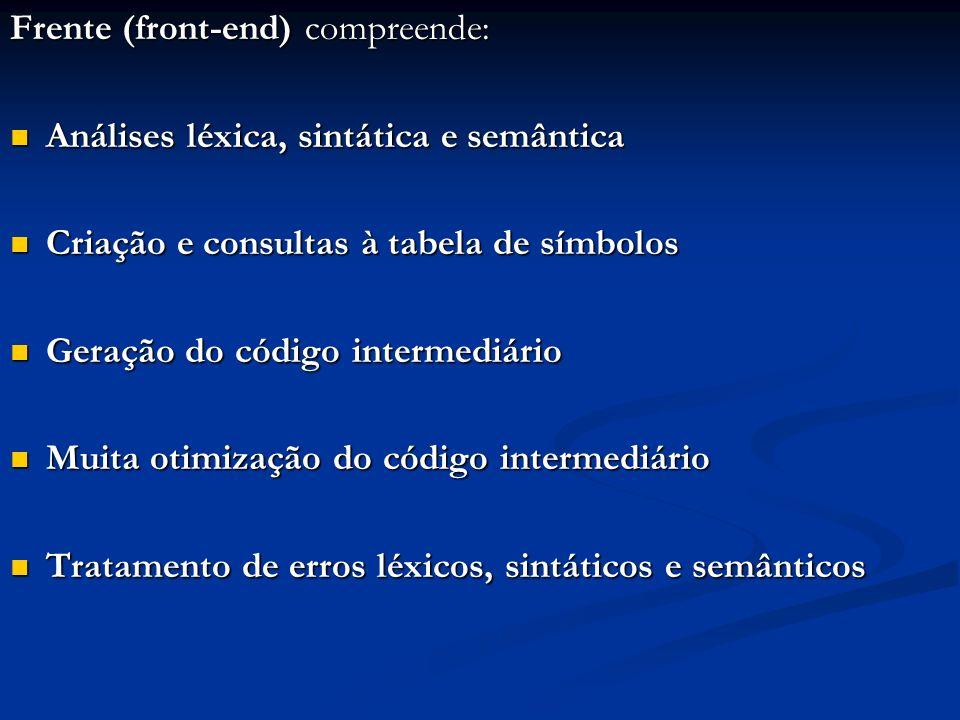 Frente (front-end) compreende: Análises léxica, sintática e semântica Análises léxica, sintática e semântica Criação e consultas à tabela de símbolos