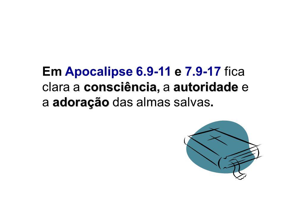 consciênciaautoridade adoração Em Apocalipse 6.9-11 e 7.9-17 fica clara a consciência, a autoridade e a adoração das almas salvas.