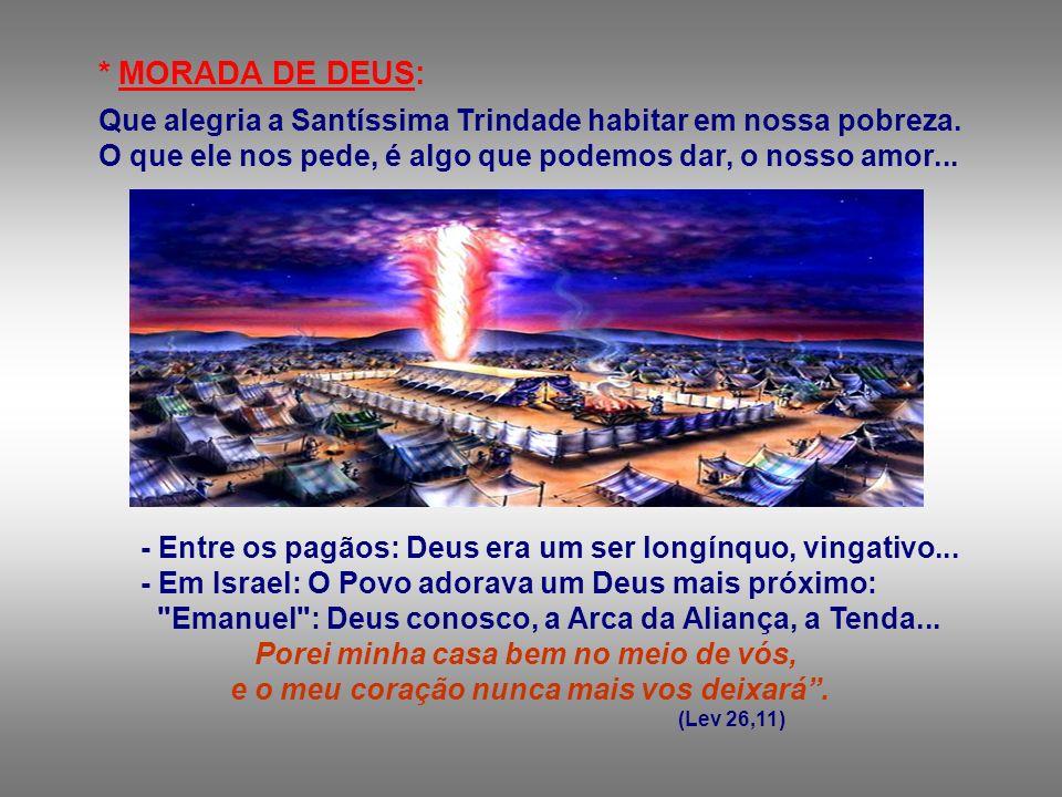* MORADA DE DEUS: Que alegria a Santíssima Trindade habitar em nossa pobreza.