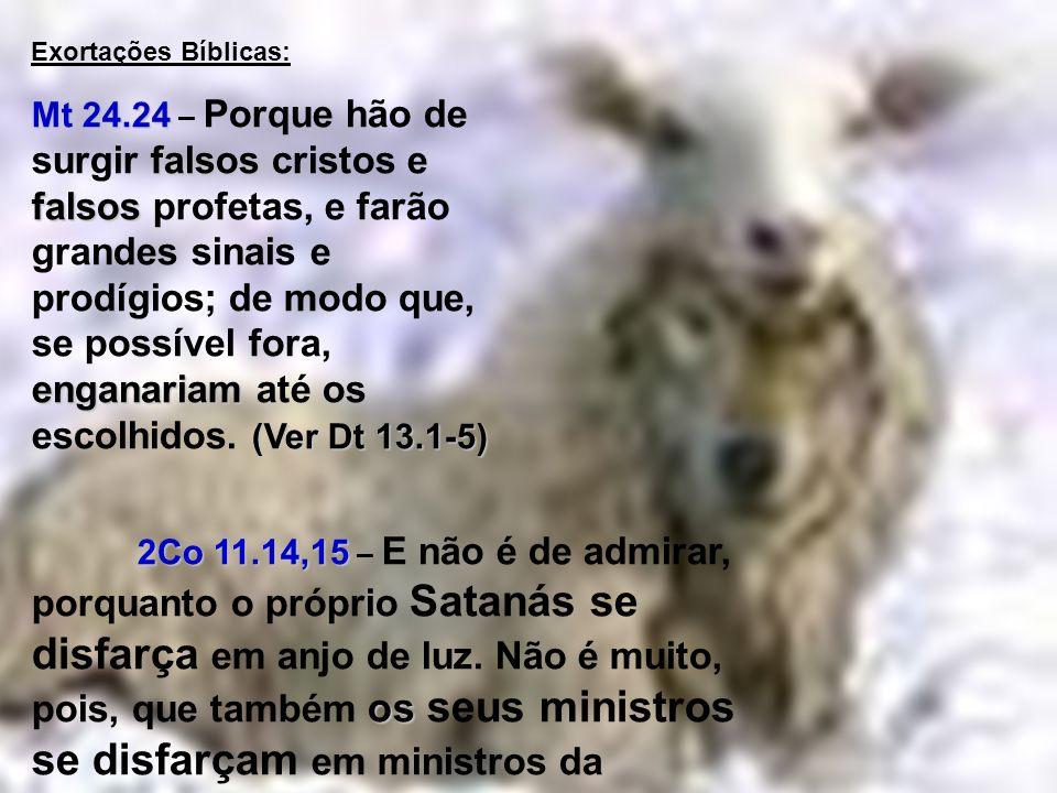 S Exortações Bíblicas: Mt 24.24 falsos falsos enganariam (Ver Dt 13.1-5) Mt 24.24 – Porque hão de surgir falsos cristos e falsos profetas, e farão gra