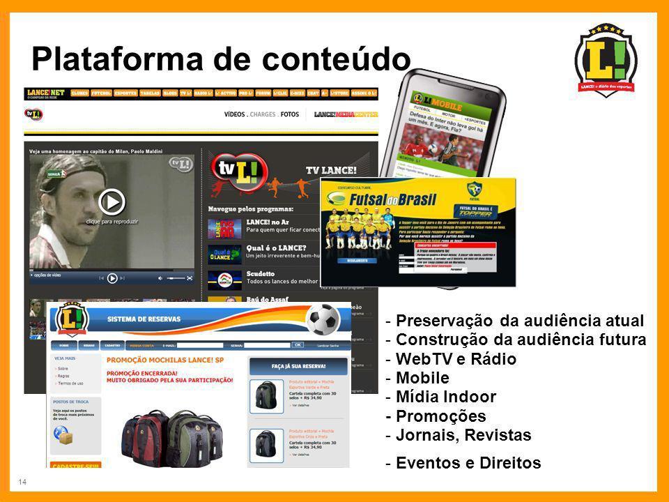 14 Plataforma de conteúdo - Preservação da audiência atual - Construção da audiência futura - WebTV e Rádio - Mobile - Mídia Indoor - Promoções - Jorn