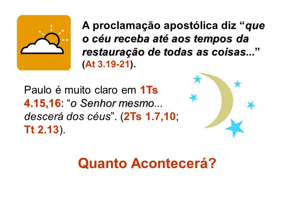 que o céu receba até aos tempos da restauração de todas as coisas A proclamação apostólica diz que o céu receba até aos tempos da restauração de todas