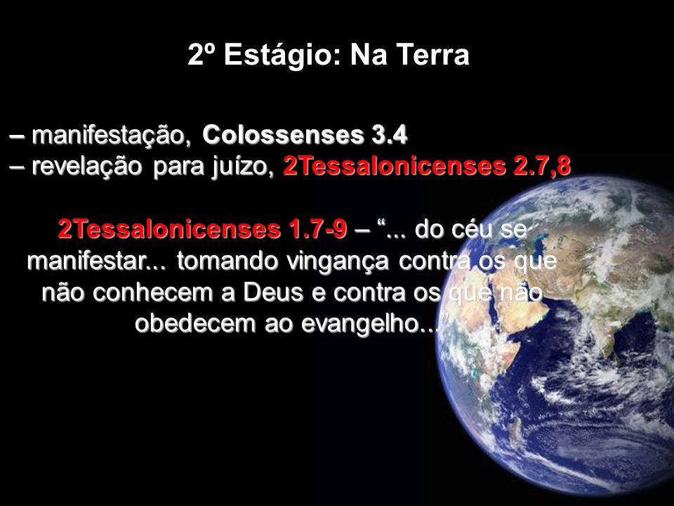 – manifestação, Colossenses 3.4 – revelação para juízo, 2Tessalonicenses 2.7,8 2Tessalonicenses 1.7-9 –... do céu se manifestar... tomando vingança co