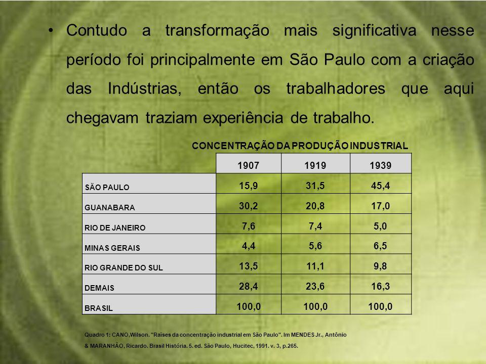 Contudo a transformação mais significativa nesse período foi principalmente em São Paulo com a criação das Indústrias, então os trabalhadores que aqui