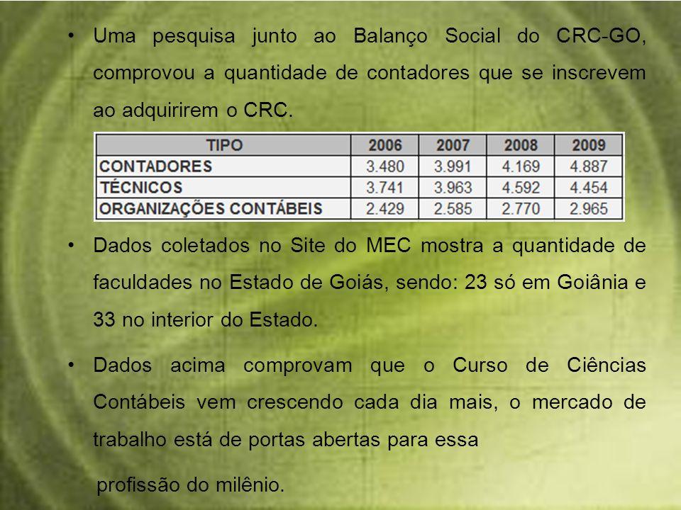 Uma pesquisa junto ao Balanço Social do CRC-GO, comprovou a quantidade de contadores que se inscrevem ao adquirirem o CRC. Dados coletados no Site do