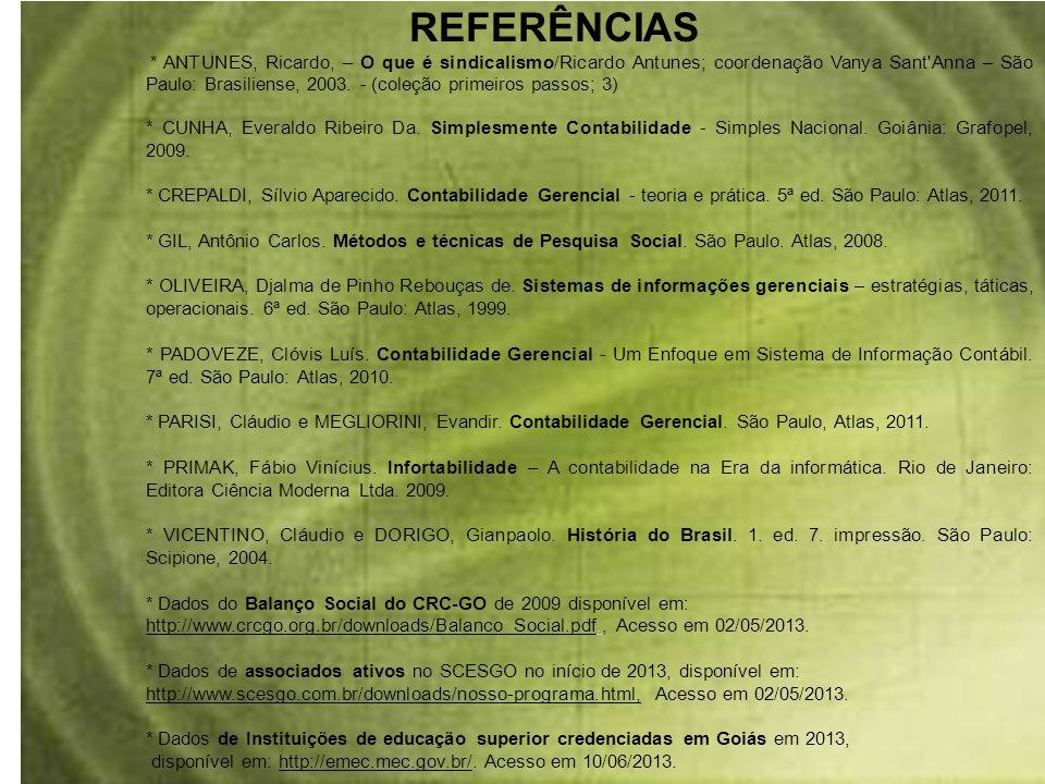 REFERÊNCIAS * ANTUNES, Ricardo, – O que é sindicalismo/Ricardo Antunes; coordenação Vanya Sant'Anna – São Paulo: Brasiliense, 2003. - (coleção primeir