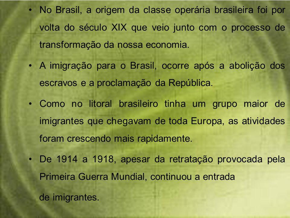No Brasil, a origem da classe operária brasileira foi por volta do século XIX que veio junto com o processo de transformação da nossa economia. A imig