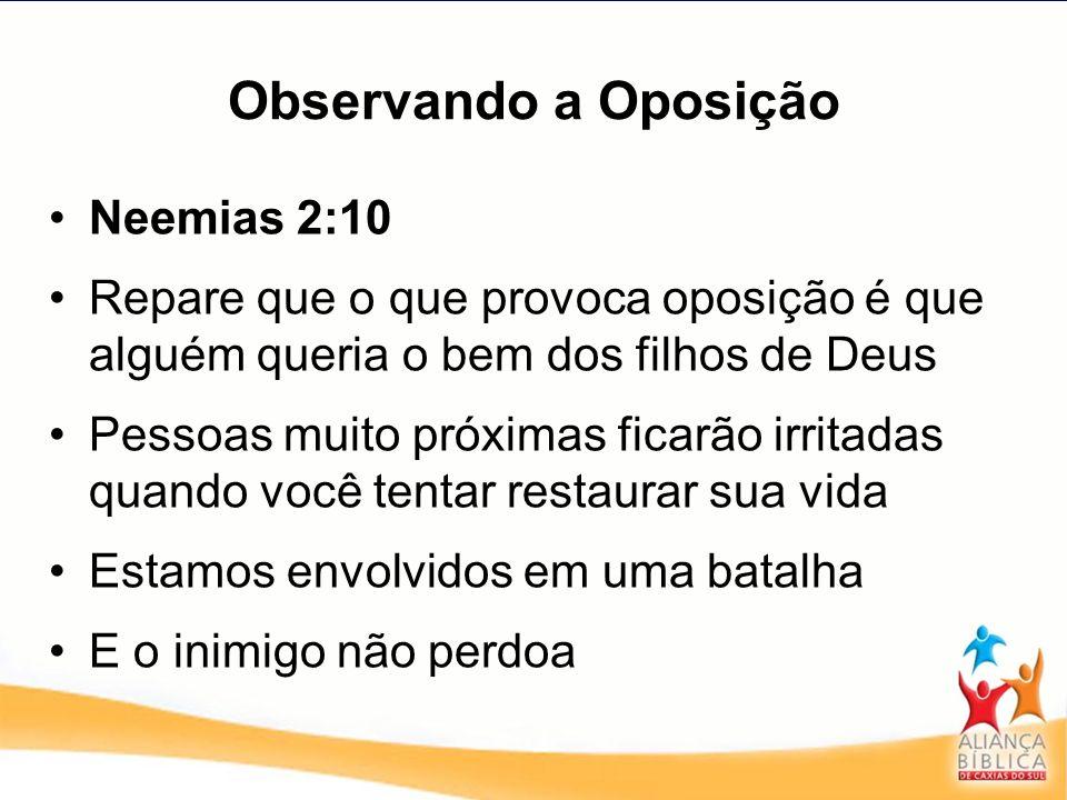 Observando a Oposição Neemias 2:10 Repare que o que provoca oposição é que alguém queria o bem dos filhos de Deus Pessoas muito próximas ficarão irrit