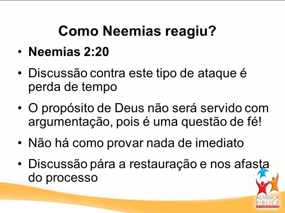 Como Neemias reagiu? Neemias 2:20 Discussão contra este tipo de ataque é perda de tempo O propósito de Deus não será servido com argumentação, pois é