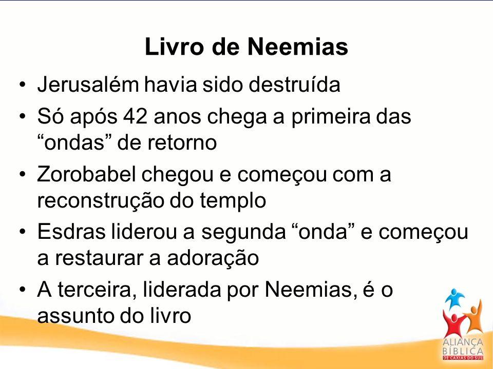 Livro de Neemias Neemias era um exilado na Pérsia, servia como copeiro do Rei Artaxerxes Tinha influência, mas nenhuma autoridade Tinha uma posição segura e a confiança do homem mais poderosos do mundo.