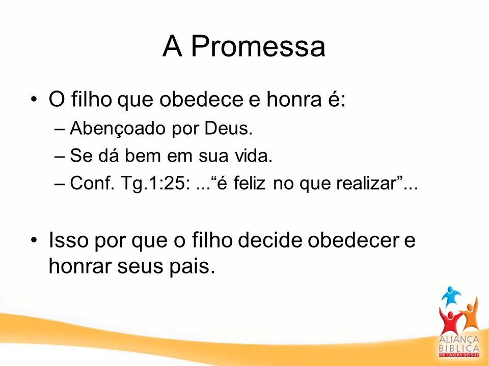 A Promessa O filho que obedece e honra é: –Abençoado por Deus. –Se dá bem em sua vida. –Conf. Tg.1:25:...é feliz no que realizar... Isso por que o fil