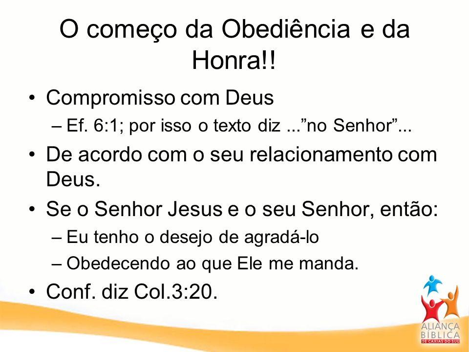 O começo da Obediência e da Honra!! Compromisso com Deus –Ef. 6:1; por isso o texto diz...no Senhor... De acordo com o seu relacionamento com Deus. Se