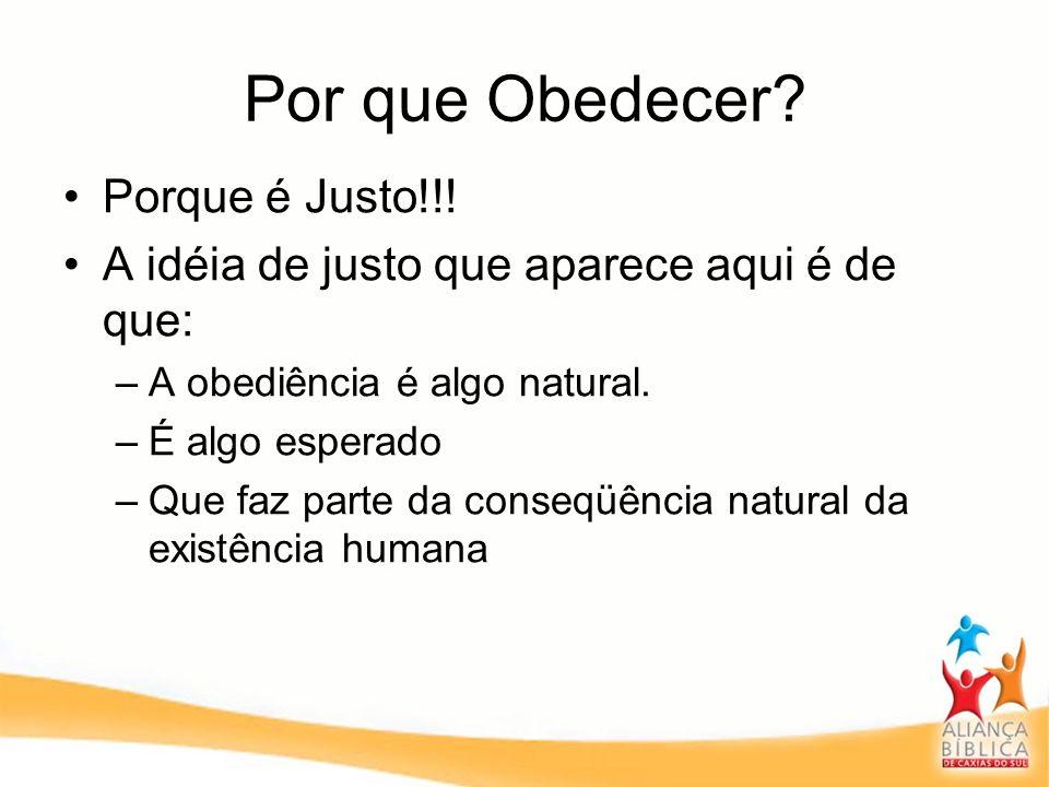Por que Obedecer? Porque é Justo!!! A idéia de justo que aparece aqui é de que: –A obediência é algo natural. –É algo esperado –Que faz parte da conse