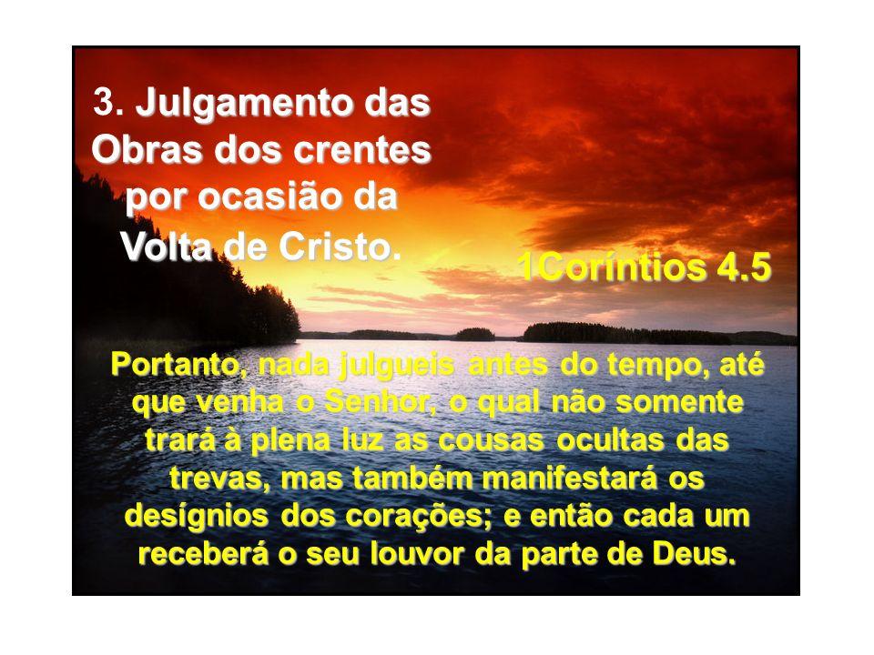 Portanto, nada julgueis antes do tempo, até que venha o Senhor, o qual não somente trará à plena luz as cousas ocultas das trevas, mas também manifest