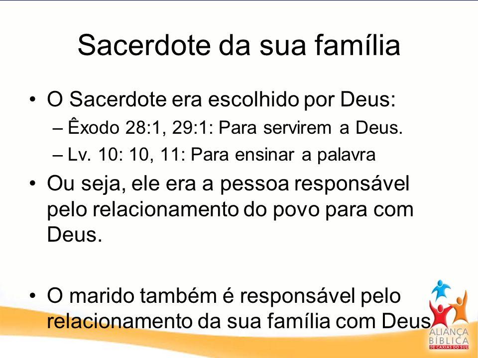 Sacerdote da sua família O Sacerdote era escolhido por Deus: –Êxodo 28:1, 29:1: Para servirem a Deus. –Lv. 10: 10, 11: Para ensinar a palavra Ou seja,