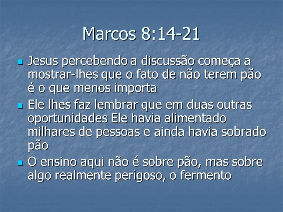 Marcos 8:14-21 Jesus percebendo a discussão começa a mostrar-lhes que o fato de não terem pão é o que menos importa Jesus percebendo a discussão começ