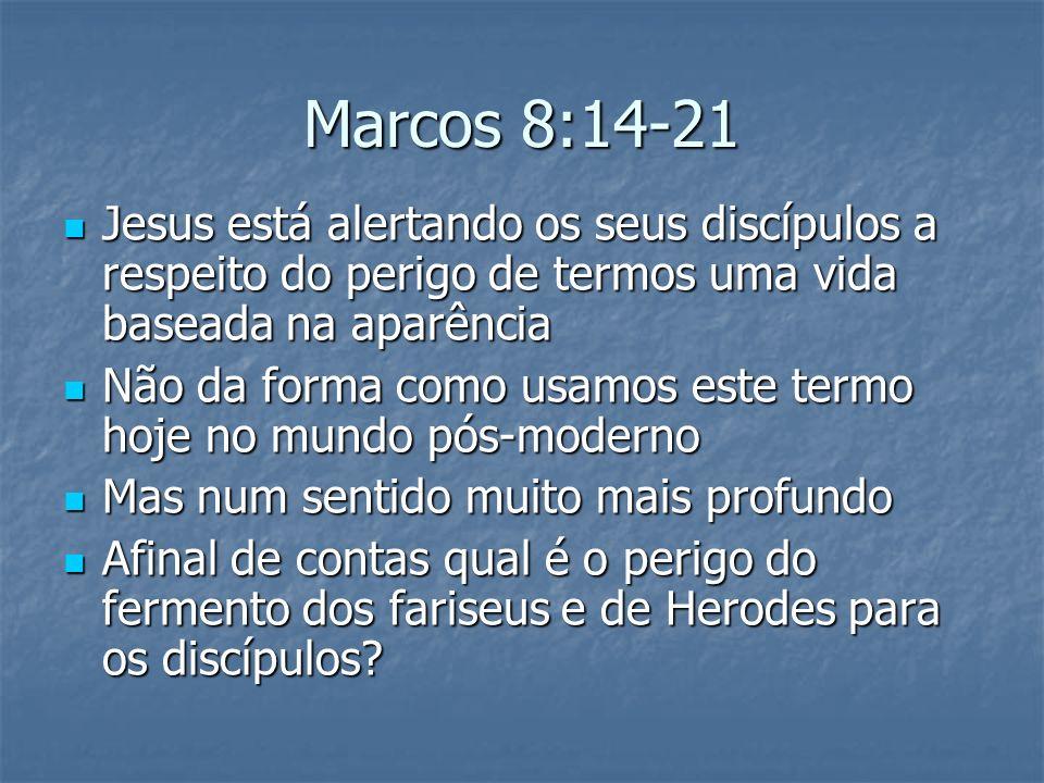 Marcos 8:14-21 Jesus está alertando os seus discípulos a respeito do perigo de termos uma vida baseada na aparência Jesus está alertando os seus discí