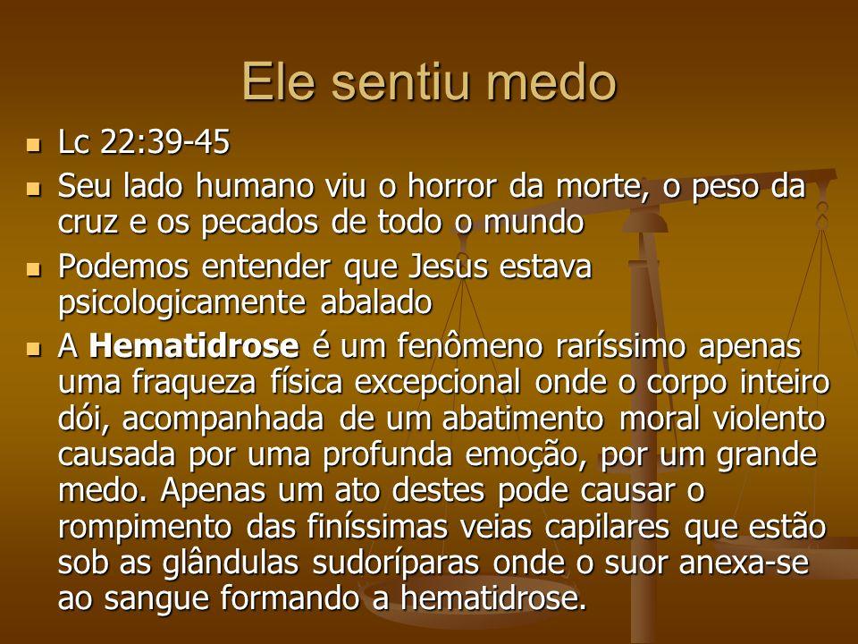 Ele sentiu medo Lc 22:39-45 Lc 22:39-45 Seu lado humano viu o horror da morte, o peso da cruz e os pecados de todo o mundo Seu lado humano viu o horro