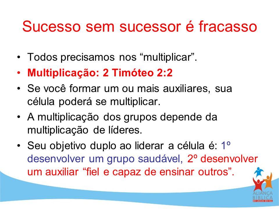 Sucesso sem sucessor é fracasso Todos precisamos nos multiplicar. Multiplicação: 2 Timóteo 2:2 Se você formar um ou mais auxiliares, sua célula poderá