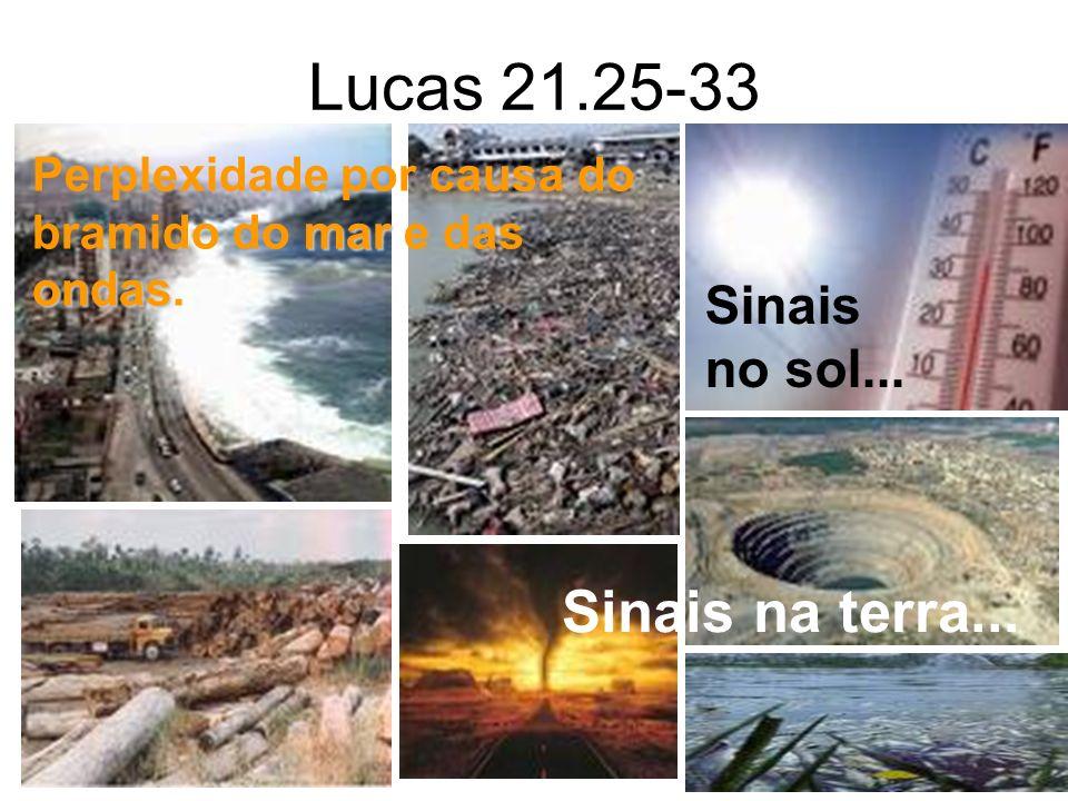 Lucas 21.25-33 Sinais no sol... Sinais na terra... mar ondas Perplexidade por causa do bramido do mar e das ondas.