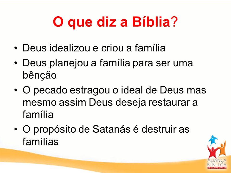 O que diz a Bíblia? Deus idealizou e criou a família Deus planejou a família para ser uma bênção O pecado estragou o ideal de Deus mas mesmo assim Deu