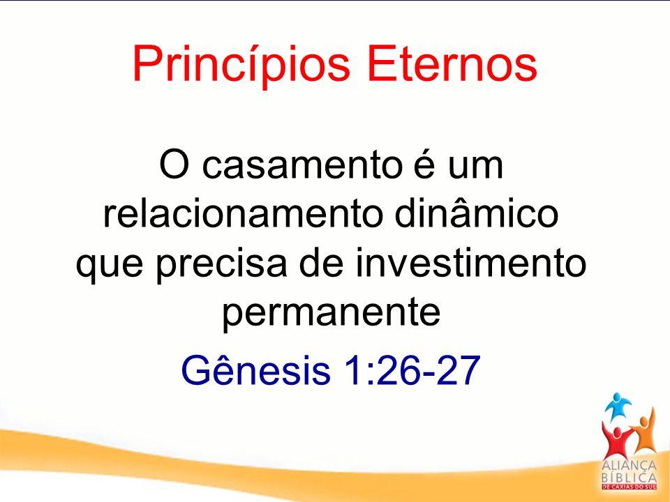 Princípios Eternos O casamento é um relacionamento dinâmico que precisa de investimento permanente Gênesis 1:26-27