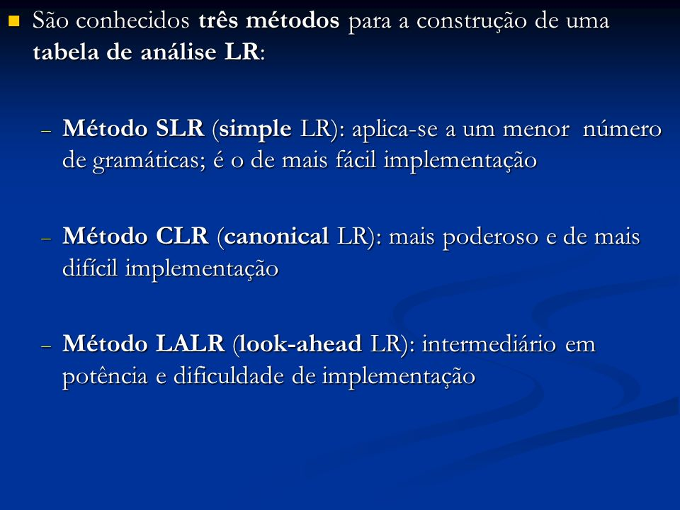 e 1 inicial E e8e8 e2e2 E e9e9 e 15 T e 18 + e3e3 T e 10 e4e4 T e 11 e 16 F e 19 * e5e5 F e 12 e6e6 ( e 13 e 17 ) e 20 E e7e7 id e 14 p/ e 4 p/ e 5 p/ e 6 p/ e 7 p/ e 2 p/ e 3 e 1 e 2 e 3 e 4 e 5 e 6 e 7 I 0 - inicial Transições de I 6 por F e id e8e9e8e9 I1I1 e 10 e 11 I2I2 E T e 12 e 14 I3I3 I5I5 e 13 e 2 e 3 e 4 e 5 e 6 e 7 I4I4 e 15 e 4 e 5 e 6 e 7 I6I6 F id ( + e 16 e 6 e 7 I7I7 * e 9 e 17 I8I8 E ( e 11 e 18 I9I9 T F id F T F