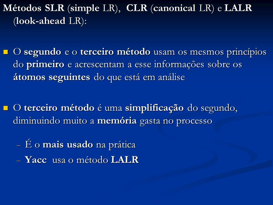 Diferenças entre o método SLR e os métodos CLR e LALR: A principal diferença está em conflitos que aparecem no primeiro método e são resolvidos nos outros dois A principal diferença está em conflitos que aparecem no primeiro método e são resolvidos nos outros dois Exemplo: seja uma gramática não-ambígua e a seguinte situação na Pilha Entrada Exemplo: seja uma gramática não-ambígua e a seguinte situação na Pilha Entrada Seja por hipótese o deslocamento de a viável, a existência da produção A α e a Seguinte(A) O método SLR visto notificará conflito shift-reduce β αβ α a _ _ _ _ Pilha Entrada