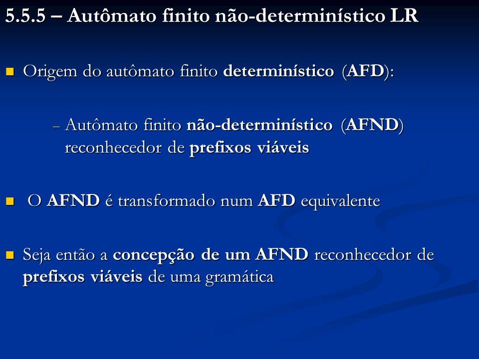 b) Se ((A.) I i e A S) Para todo a Seguinte (A) Ação [i, a] (reduzir, A ); id+*()$ 0d 5d 4 1d 6 2r 2d 7r 2 3r 4 4d 5d 4 5r 6 6d 5d 4 7d 5d 4 8d 6d 11 9r 1d 7r 1 10r 3 11r 5 Número da Produção Item de final de Produção Estado do AFD - E E.
