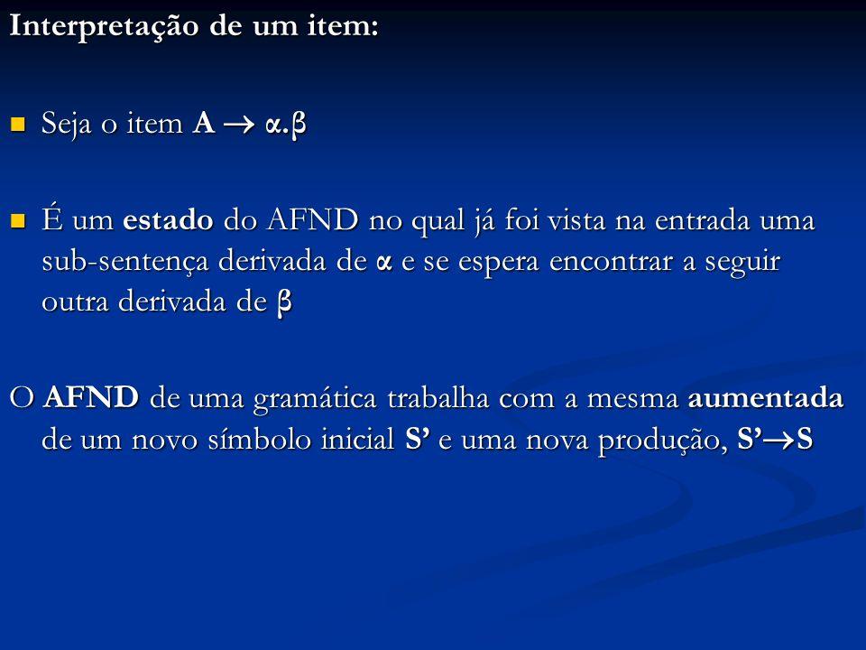 EstadosAFD ( gramática aumentada G ) { C {Fechamento ( {S.S})} ; Repetir { Para (cada conjunto I C e cada símbolo X de G tal que Goto (I, X) { } e Goto (I, X) C) { Acrescentar Goto (I, X) a C; } } Até que (nenhum conjunto seja acrescentado a C); Retornar C; } No AFD, existe uma transição de I i para I j por X, com (I i, I j C) e (X (N )) se Goto (I i, X) = I j No AFD, existe uma transição de I i para I j por X, com (I i, I j C) e (X (N )) se Goto (I i, X) = I j Todos os estados do AFD são finais Todos os estados do AFD são finais