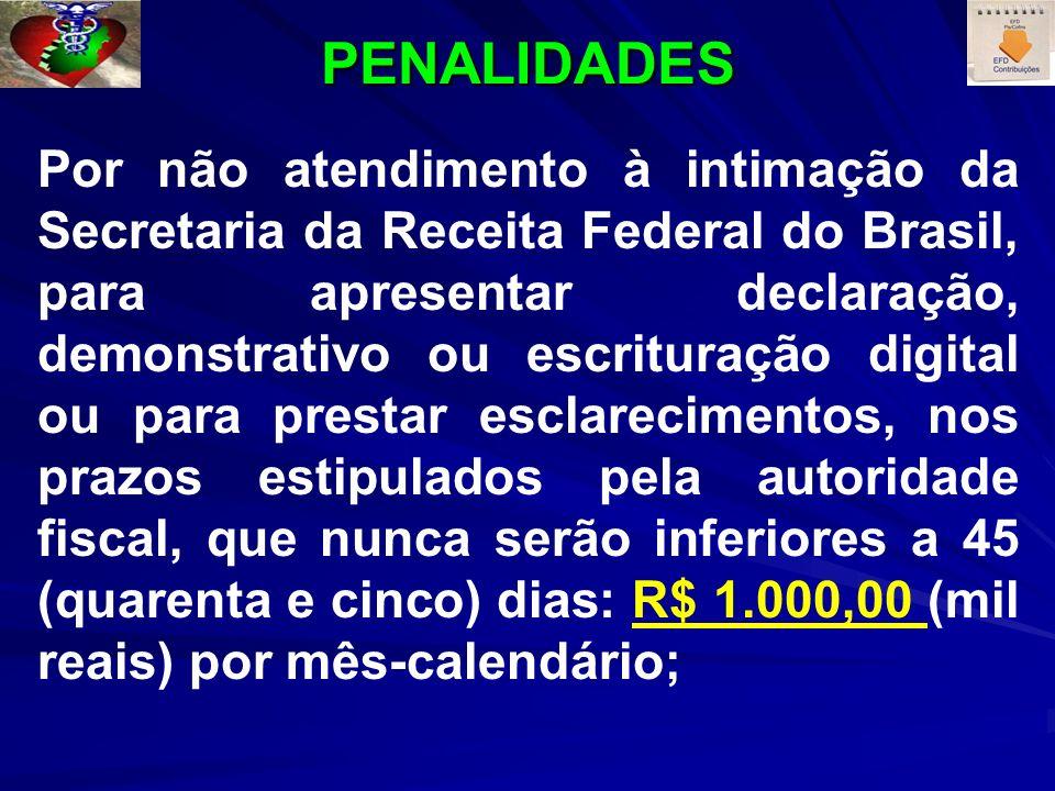 PENALIDADES Por não atendimento à intimação da Secretaria da Receita Federal do Brasil, para apresentar declaração, demonstrativo ou escrituração digital ou para prestar esclarecimentos, nos prazos estipulados pela autoridade fiscal, que nunca serão inferiores a 45 (quarenta e cinco) dias: R$ 1.000,00 (mil reais) por mês-calendário;