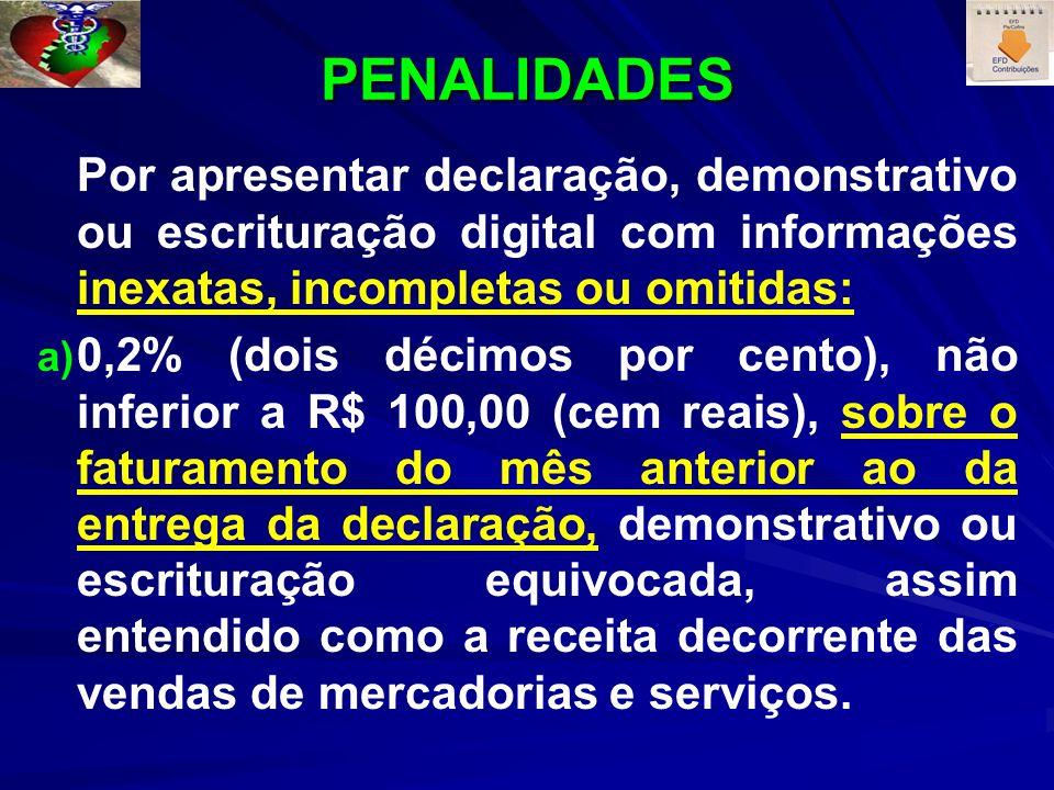 PENALIDADES Por apresentar declaração, demonstrativo ou escrituração digital com informações inexatas, incompletas ou omitidas: a) a) 0,2% (dois décim