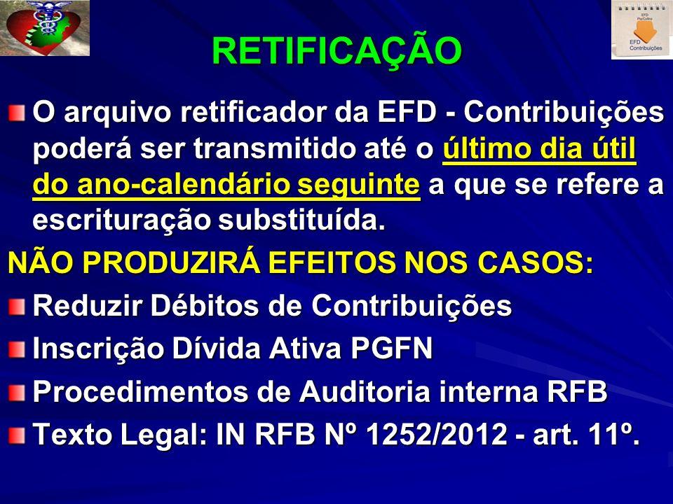 RETIFICAÇÃO O arquivo retificador da EFD - Contribuições poderá ser transmitido até o último dia útil do ano-calendário seguinte a que se refere a escrituração substituída.