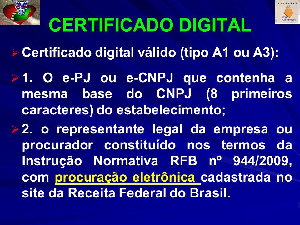 CERTIFICADO DIGITAL Certificado digital válido (tipo A1 ou A3): 1. O e-PJ ou e-CNPJ que contenha a mesma base do CNPJ (8 primeiros caracteres) do esta