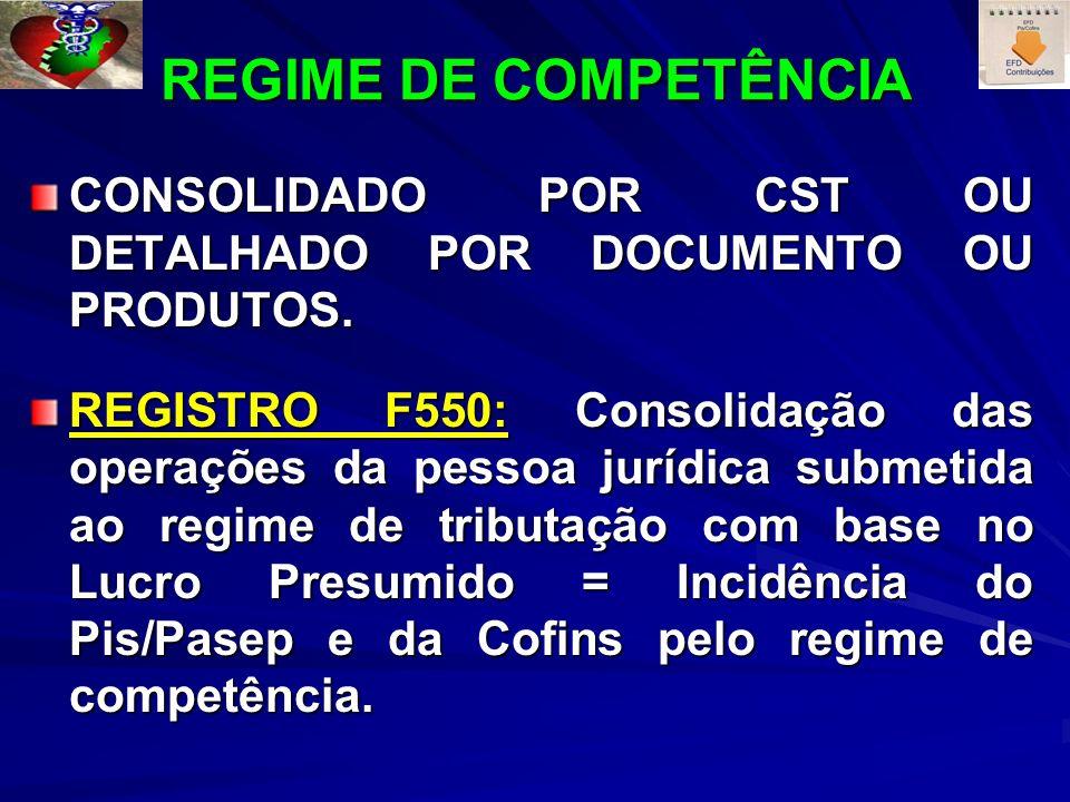 REGIME DE COMPETÊNCIA CONSOLIDADO POR CST OU DETALHADO POR DOCUMENTO OU PRODUTOS. REGISTRO F550: Consolidação das operações da pessoa jurídica submeti