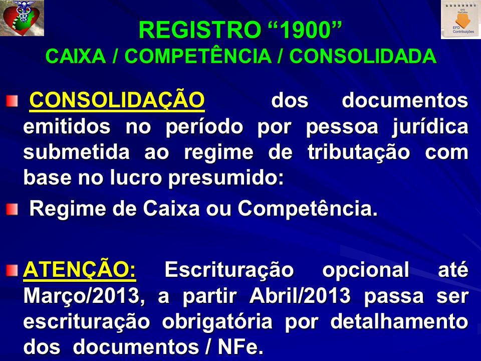 REGISTRO 1900 CAIXA / COMPETÊNCIA / CONSOLIDADA dos documentos emitidos no período por pessoa jurídica submetida ao regime de tributação com base no l